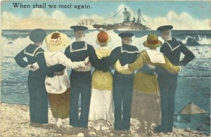 "Postcard with caption ""When shall we meet again"""