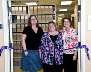 Heather (center) with Becky McGee-Lankford and Sarah Koonts at the opening of the Western Regional Archives.