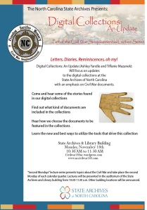 Poster for the Civil War 150 Committee's Second Mondays Talk for November 2013