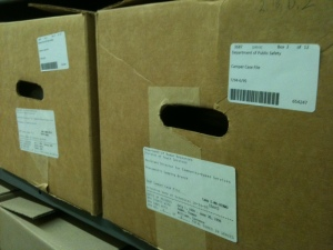 Recently barcoded boxes in the State Records Center