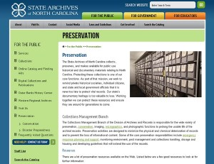 Screenshot of the new Preservation web page