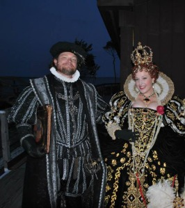 Outer Banks History Center archivist Stuart Parks II, as Governor John White, and Diana McQueen, as Queen Elizabeth I, await their entrance cues backstage at The Lost Colony