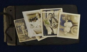 Images of photographs on top of a scrapbook. The Traveling Archivist Program (TAP) provides onsite consultation in best practices for the preservation of and access to archival materials held in North Carolina repositories in order to preserve items like this.