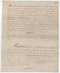 The signature page of North Carolina's copy of the United States Constitution from 1789 is on loan from the State Archives of North Carolina. Click the image to see a larger version.