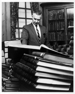 William S. Powell (Bill Powell) in the UNC Library, c.1970s. From the General Negative Collection, State Archives of North Carolina. Call number: N.74.2.85A