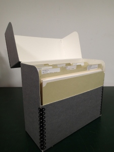 Photograph of an open archival box