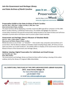 Preservation Week Flyer image