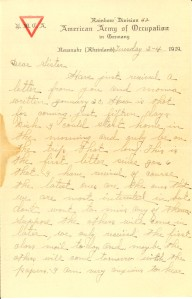 Letter: Harvey L. Teague to Sister, February 4, 1919 (Call no. MilColl.WWI.PC.55)