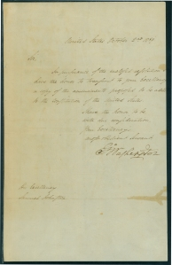 Letter from Pres. George Washington to Gov. Samuel Johnston, October 2, 1789.