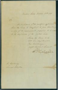 Letter from Pres. George Washington to Gov. Samuel Johnston, October 2, 1789.
