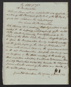 Proclamation delivered by Richard Dobbs Spaight at New Bern, NC, May 25, 1793. Call no. GP Box 20, Richard Spaight.
