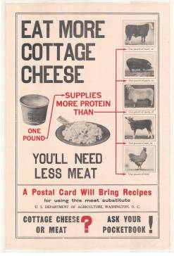 World War I poster encouraging civilians to eat cottage cheese instead of meat. [MilColl.WWI.Posters.5.39.c2]