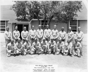 Class graduation photograph of the U.S. Marine Corps all-African American Food Service School Company, Class #68, at Camp Lejeune, August 1, 1953.