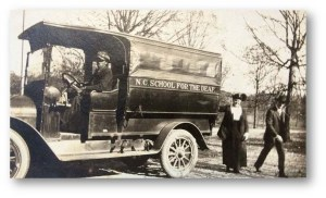 School bus for the N.C. School for the Deaf, PC.1476, Haynes Family Papers