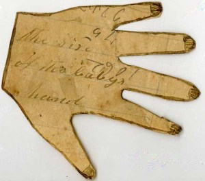 Tracing of a baby's hand from a letter written by Martha Hendley Poteet to Francis Marion Poteet, June 16, 1864. Poteet-Dickson Letters, Private Collections.