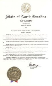 Gov. Pat McCrory's Archives Month Proclamation for October 2015