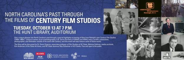 Announcement for the event: North Carolina's Past Through The Films of Century Film Studios