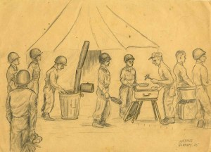 Untitled Drawing [Soldiers at Chow Line], Artist: Joseph Albert Haymes Jr.