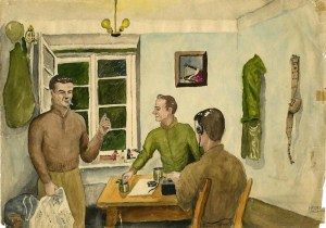 Untitled Painting [Soldiers in a Room] (front), Artist: Joseph Albert Haymes Jr.