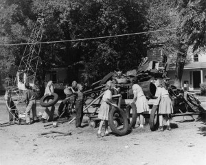Coltrane Elementary Students Add to Scrap Pile, Date: 1942