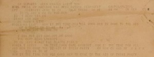 Close-up, Cape Lookout Teletype Roll section [Roll 4], Date: October 17, 1944
