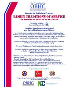 "Flyer for the events that are part the exhibit ""The Family Traditions of Service: A Historical Tribute to Veterans."""