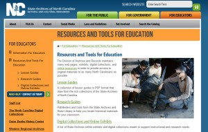 Screenshot of the Resources and Tools for Education page on the State Archives website.