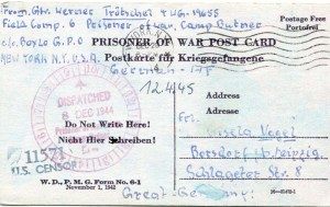 Example of one of the nine original postcards and letters from World War II German POW Werner Trotschel