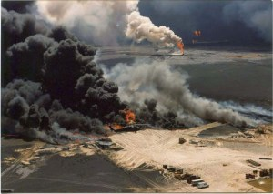 Oil fields and refineries still burning in Kuwait, Frederick E. Stoehr Papers, Military Collection, State Archives of North Carolina