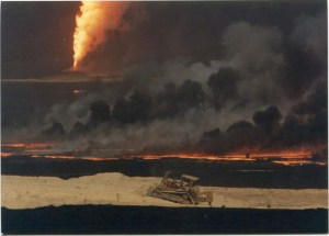 Engineers and construction workers attempting to repair refineries in Kuwait amidst burning oil fields and refineries in 1992