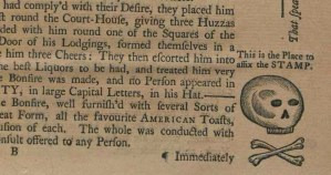 Close-up of a portion of the Nov. 20, 1765 issue of the North Carolina Gazette