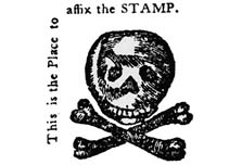 Small image with a skull and crossbones and the words This is the Place to affix the STAMP
