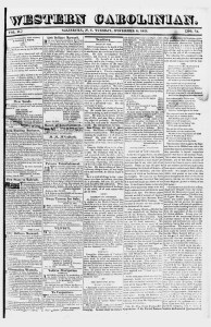 Western Carolinian issue Nov. 6, 1821