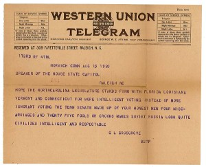 Western Union telegram from G.L. Grosgrove to the Speaker of the House on the topic of the 19th Amendment