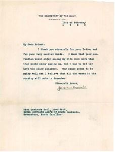 Letter from Josephus Daniels to Gertrude Weil, Feb. 12, 1920