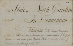 Portion of the Constitution of the United States as Approved by North Carolina, 1789.