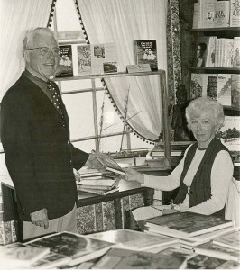 Ruth Peeling Barbour and Lockwood Phillips Sr. at a book signing for Cruise of the Snap Dragon, ca. July–August 1976
