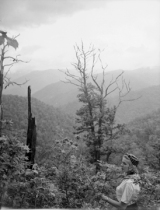 Women looking out over mountains. Swain County, North Carolina