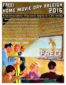 Home Movie Day 2016 flyer