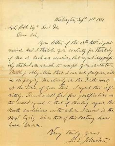 From Leonidas Lafayette Polk Papers, PC.849: Letter of Gen. Joseph E. Johnston to. L. L. Polk, September 1, 1881.