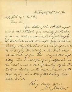 From Leonidas Lafayette Polk Papers, PC.849: Letter of Gen. Joseph E. Johnston to. L. L. Polk, September 1, 1881.