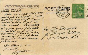 Last known piece of correspondence from Weldon C. Burlison in November 1941, before he was killed at Hickam Field on December 7, 1941