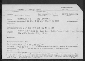 World War I service card for Henry Lewis Graves
