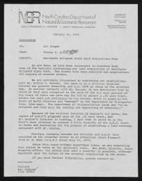 N.C. Division of Parks and Recreation Records, Operations Section, Admin. File, Merchants Millpond, 1976
