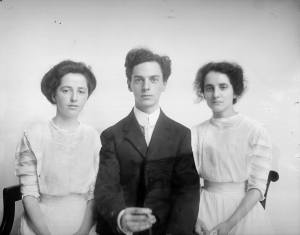 Photographer Albert Barden with his sisters, Daisy and Violet, c. 1910.
