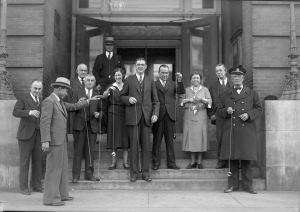 Pictured is a group of Raliegh City officials holding Yo-Yos on the steps of City Hall c. 1930.