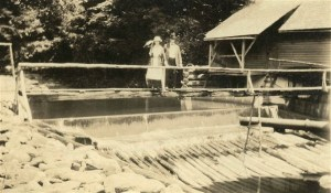 Exum and George Clement at the intake of the North Fork of the Swannanoa River, ca. 1916