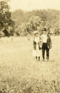 Exum and George Clement at in a field, Buncombe County, ca. 1916.