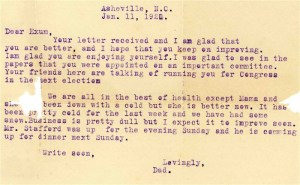 Letter of January 11, 1921 from George Clement to Exum.