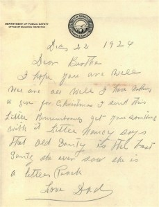 Letter of Dec. 22, 1924 from George Clement to Bertha Clement praising Exum's daughter